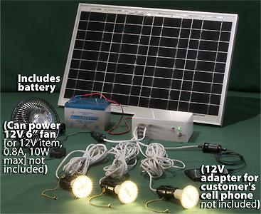 solar powered led lighting system 3 led bulbs 25 watt solar panel rh ledtronics com