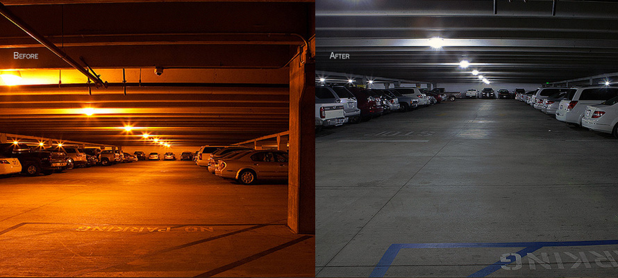 Fantasy Springs Parking Structure comes alive with LEDtronics LED lighting.