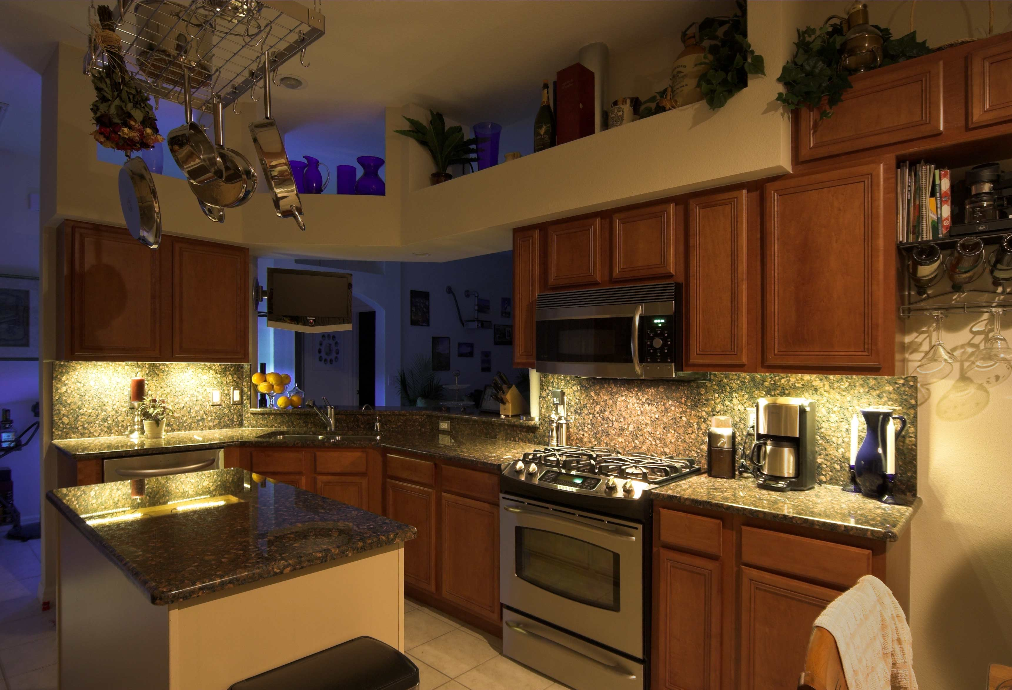 Click HERE to ... & Recessed Kitchen Cabinet Lighting with Energy Saving LED Strip Lights azcodes.com