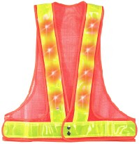 Be Seen At Night, LED Safety Vests With 16 Flashing Red LEDs
